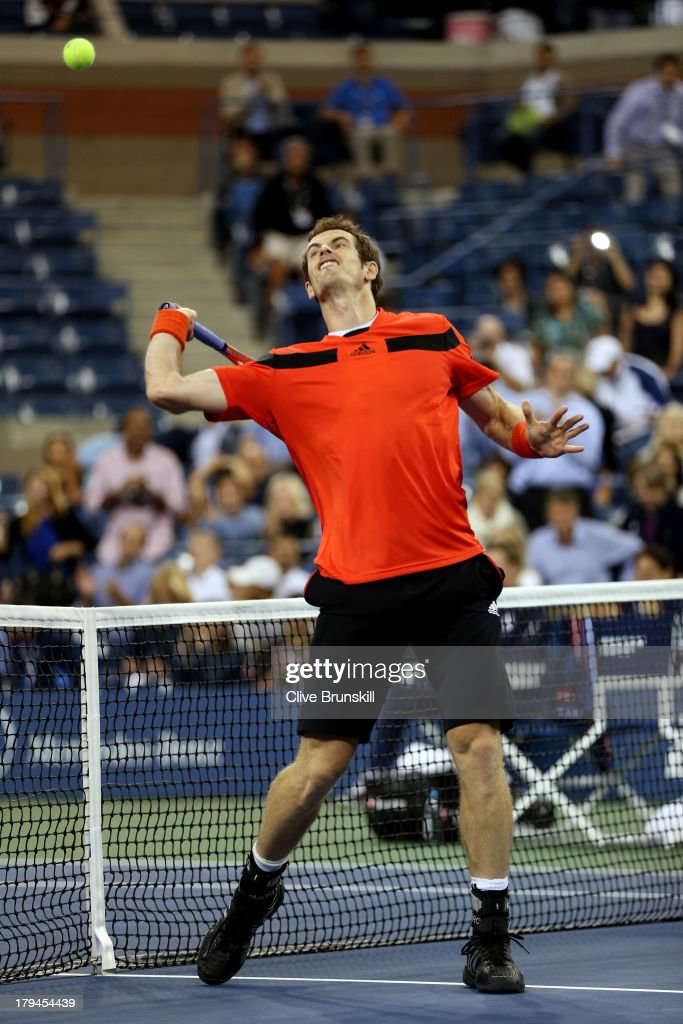 Andy Murray of Great Britain celebrates winning his men's singles fourth round match against Denis Istomin of Uzbekistan on Day Nine of the 2013 US Open at USTA Billie Jean King National Tennis Center on September 3, 2013 in the Flushing neighborhood of the Queens borough of New York City.