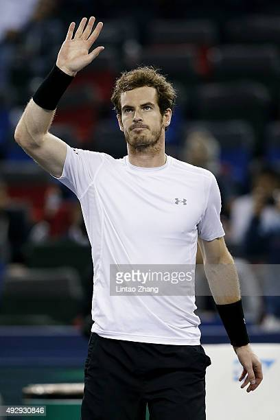 Andy Murray of Great Britain celebrates winning his men's singles quarterfinals match against Tomas Berdych of Czech Republic on day 6 of Shanghai...