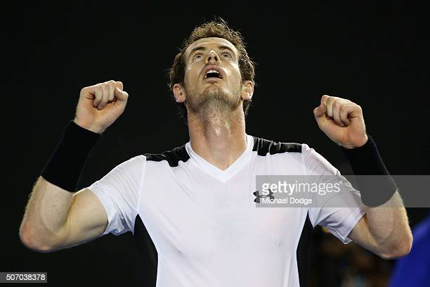 Andy Murray of Great Britain celebrates winning his quarter final match against David Ferrer of Spain during day 10 of the 2016 Australian Open at...