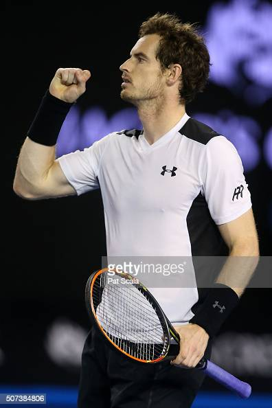 Andy Murray of Great Britain celebrates winning his semi final match against Milos Raonic of Canada during day 12 of the 2016 Australian Open at...
