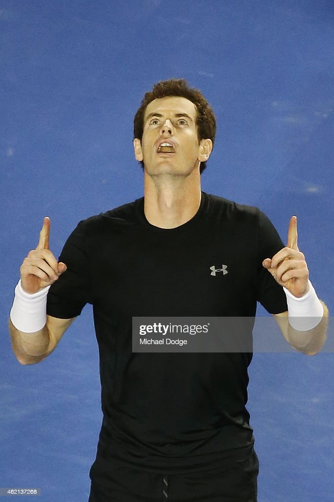 Andy Murray of Great Britain celebrates winning in his fourth round match against Grigor Dimitrov of Bulgaria during day seven of the 2015 Australian Open at Melbourne Park on January 25, 2015 in Melbourne, Australia.