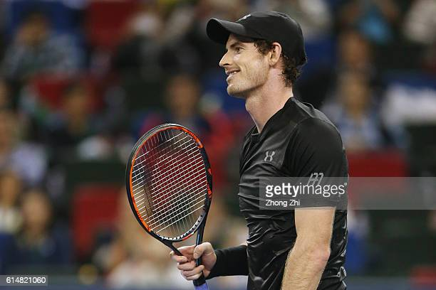 Andy Murray of Great Britain celebrates winning over Gilles Simon of France during the Men's singles semifinal match on day 7 of Shanghai Rolex...