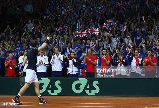 Andy Murray of Great Britain celebrates winning the second set during the singles match against David Goffin of Belgium on day three of the Davis Cup...