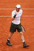 Andy Murray of Great Britain celebrates winning the second set during the Men's Singles semi final match against Stan Wawrinka of Switzerland on day...