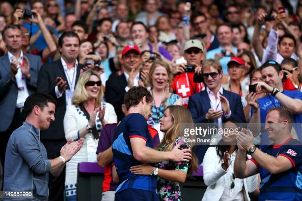 Andy Murray of Great Britain celebrates with his girlfriend Kim Sears after defeating Roger Federer of Switzerland in the Men's Singles Tennis Gold...