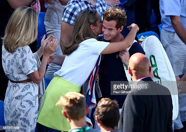 Andy Murray of Great Britain celebrates with his wife Kim Murray after defeating Gilles Simon of France during Day Three of The World Group Quarter...