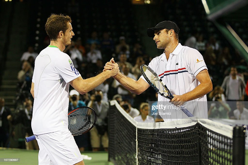 <a gi-track='captionPersonalityLinkClicked' href=/galleries/search?phrase=Andy+Murray+-+Tennis+Player&family=editorial&specificpeople=200668 ng-click='$event.stopPropagation()'>Andy Murray</a> of Great Britain congratulates <a gi-track='captionPersonalityLinkClicked' href=/galleries/search?phrase=Andy+Roddick&family=editorial&specificpeople=167084 ng-click='$event.stopPropagation()'>Andy Roddick</a> of USA after losing to him during the inaugural Miami Tennis Cup at Crandon Park Tennis Center on December 1, 2012 in Key Biscayne, Florida.