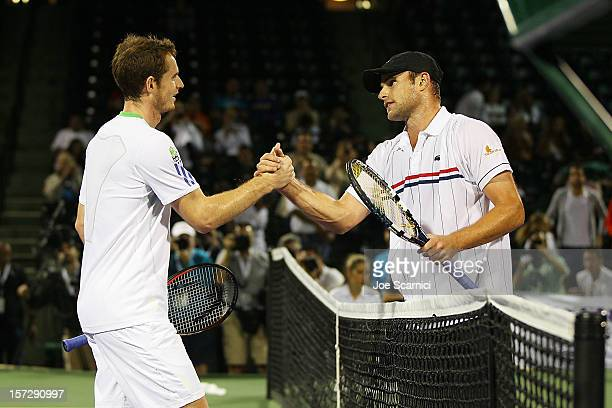 Andy Murray of Great Britain congratulates Andy Roddick of USA after losing to him during the inaugural Miami Tennis Cup at Crandon Park Tennis...