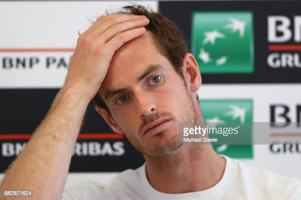 Andy Murray of Great Britain during a press conference on Day Two of The Internazionali BNL d'Italia 2017 at the Foro Italico on May 14 2017 in Rome...