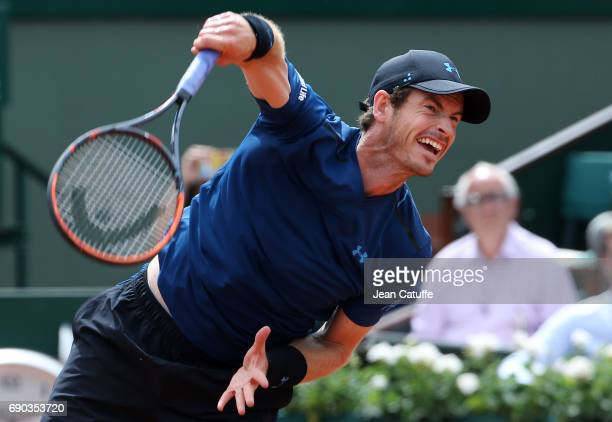 Andy Murray of Great Britain during his first round match on day 3 of the 2017 French Open second Grand Slam of the season at Roland Garros stadium...