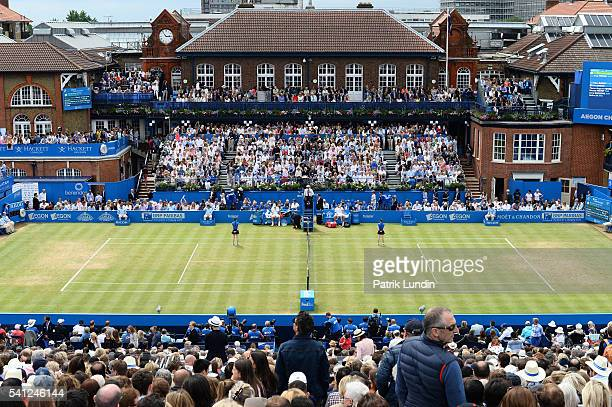 Andy Murray of Great Britain during the final match against Milos Raonic of Canada on day 7 at Queens Club on June 19 2016 in London England