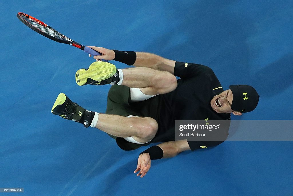 Andy Murray of Great Britain falls over in his second round match against Andrey Rublev of Russia on day three of the 2017 Australian Open at Melbourne Park on January 18, 2017 in Melbourne, Australia.