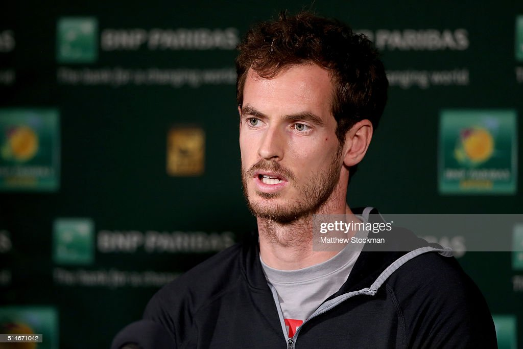 Andy Murray of Great Britain fields questions from the media during the BNP Paribas Open at the Indian Wells Tennis Garden on March 10 2016 in Indian...