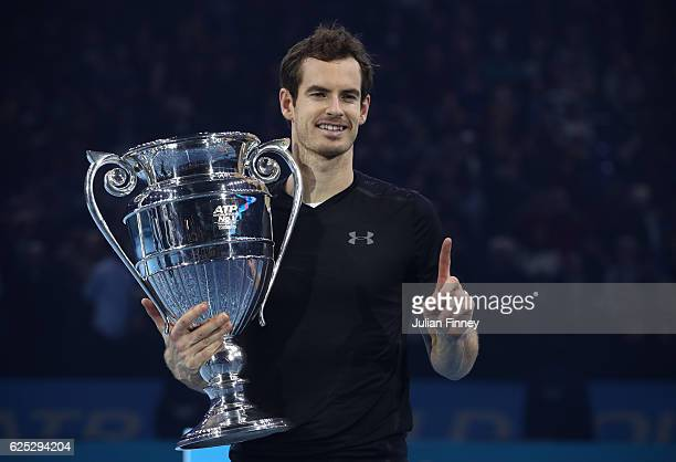 Andy Murray of Great Britain following his victory during the Singles Final against Novak Djokovic of Serbia at the O2 Arena on November 20 2016 in...