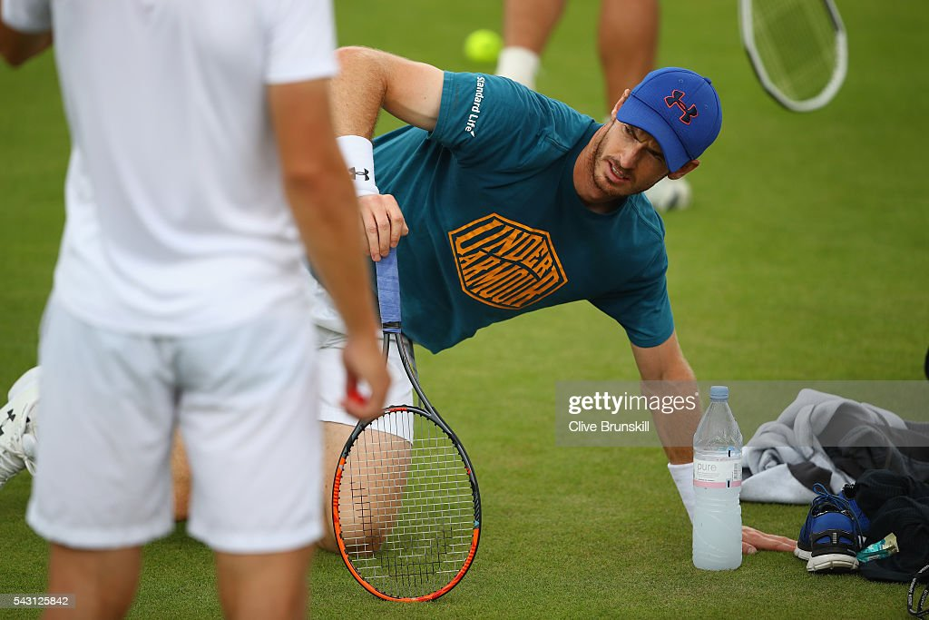 <a gi-track='captionPersonalityLinkClicked' href=/galleries/search?phrase=Andy+Murray+-+Tennis+Player&family=editorial&specificpeople=200668 ng-click='$event.stopPropagation()'>Andy Murray</a> of Great Britain gets up after taking a break during a practice session prior to the Wimbledon Lawn Tennis Championships at the All England Lawn Tennis and Croquet Club on June 26, 2016 in London, England.
