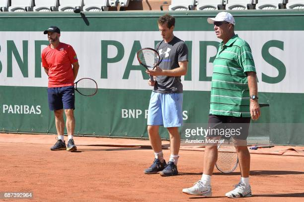 Andy Murray of Great Britain his Coach Ivan Lendl and the assistant Coach Jamie Delgado react during a training session at the 2017 French Open at...