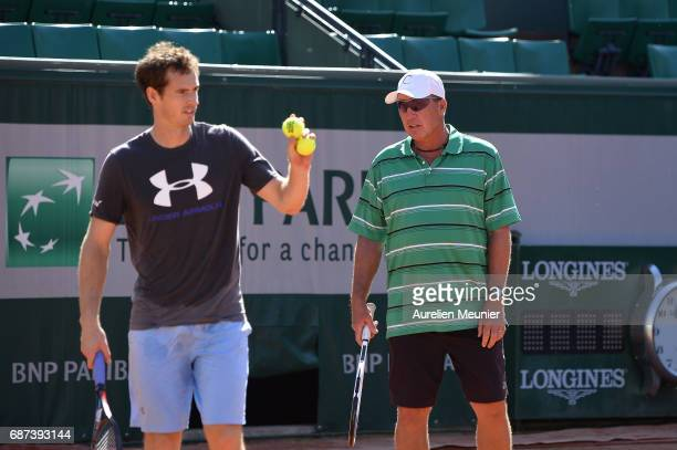 Andy Murray of Great Britain his Coach Ivan Lendl react during a training session at the 2017 French Open at Roland Garros on May 23 2017 in Paris...