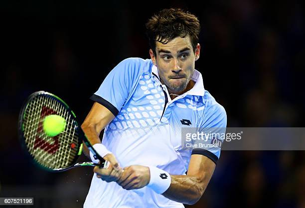 Andy Murray of Great Britain hits a backhand during his singles match against Guido Pella of Argentina during day three of the Davis Cup semi final...