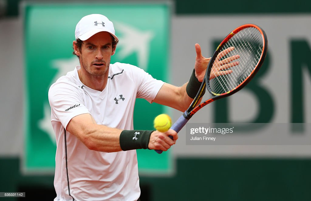 <a gi-track='captionPersonalityLinkClicked' href=/galleries/search?phrase=Andy+Murray+-+Tennis+Player&family=editorial&specificpeople=200668 ng-click='$event.stopPropagation()'>Andy Murray</a> of Great Britain hits a backhand during the Men's Singles fourth round match against John Isner of the United States on day eight of the 2016 French Open at Roland Garros on May 29, 2016 in Paris, France.