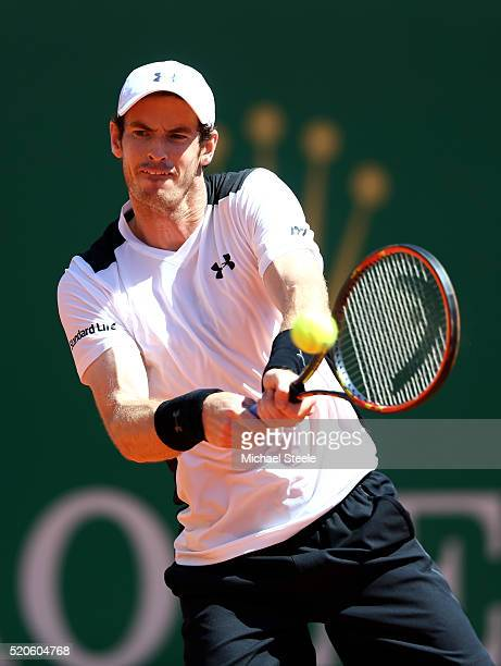 Andy Murray of Great Britain hits a backhand during the second round match against PierreHughes Herbert of France on day three of the Monte Carlo...