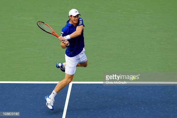 Andy Murray of Great Britain hits a backhand return against Dustin Brown of Jamaica during his men's singles match on day five of the 2010 US Open at...