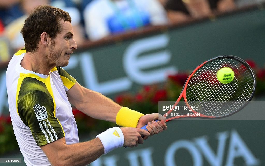 Andy Murray of Great Britain hits a backhand return against Juan Martin Del Potro of Argentina on March 15, 2013 in Indian Wells, California, during their quarterfinal match at the BNP Paribas Open. AFP PHOTO/Frederic J. BROWN