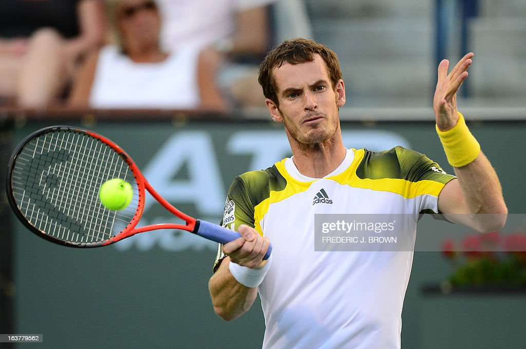Andy Murray of Great Britain hits a backhand return from the baseline against Juan Martin del Potro of Argentina on March 15, 2013 in Indian Wells, California, during their quarterfinal match at the BNP Paribas Open. AFP PHOTO/Frederic J. BROWN