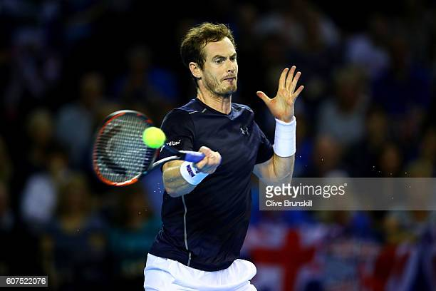Andy Murray of Great Britain hits a forehand during his singles match against Guido Pella of Argentina during day three of the Davis Cup semi final...