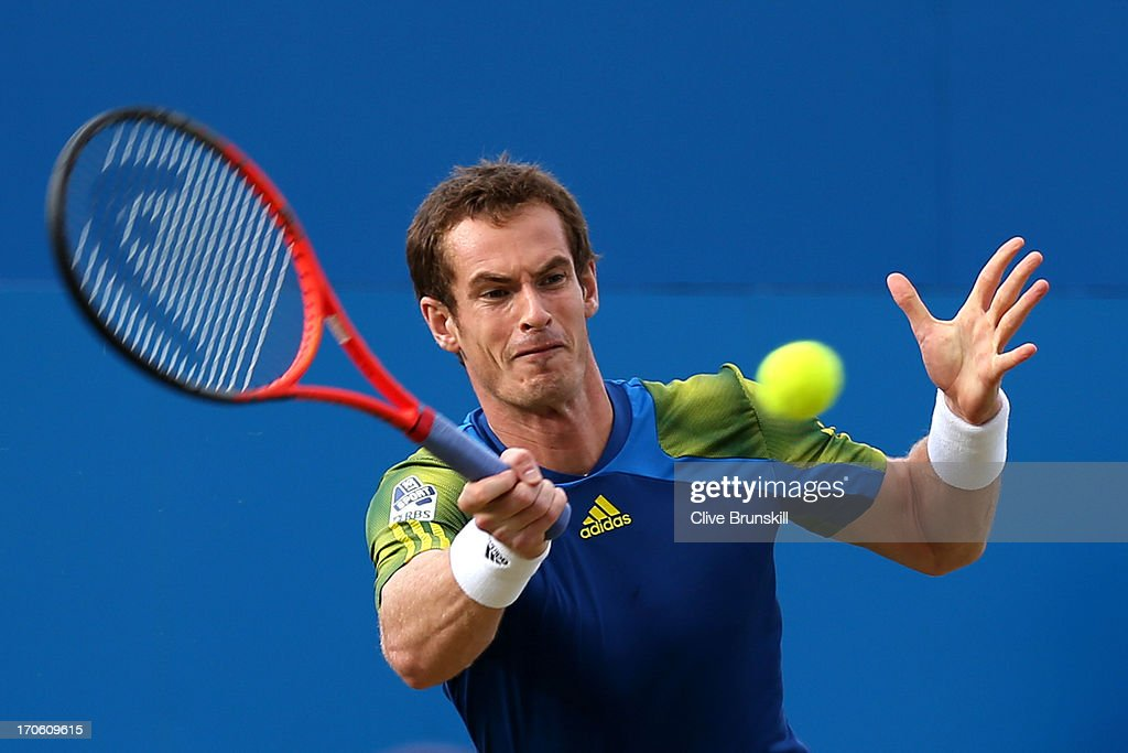 <a gi-track='captionPersonalityLinkClicked' href=/galleries/search?phrase=Andy+Murray+-+Tennis+Player&family=editorial&specificpeople=200668 ng-click='$event.stopPropagation()'>Andy Murray</a> of Great Britain hits a forehand during the Men's Singles semi final round match against Jo-Wilfried Tsonga of France on day six of the AEGON Championships at Queens Club on June 15, 2013 in London, England.