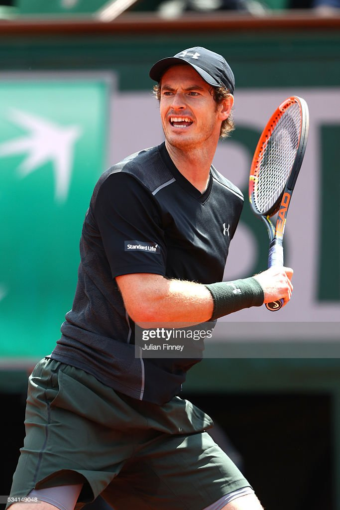 <a gi-track='captionPersonalityLinkClicked' href=/galleries/search?phrase=Andy+Murray+-+Tennis+Player&family=editorial&specificpeople=200668 ng-click='$event.stopPropagation()'>Andy Murray</a> of Great Britain hits a forehand during the Men's Singles second round match against Mathias Bourgue of France on day four of the 2016 French Open at Roland Garros on May 25, 2016 in Paris, France.