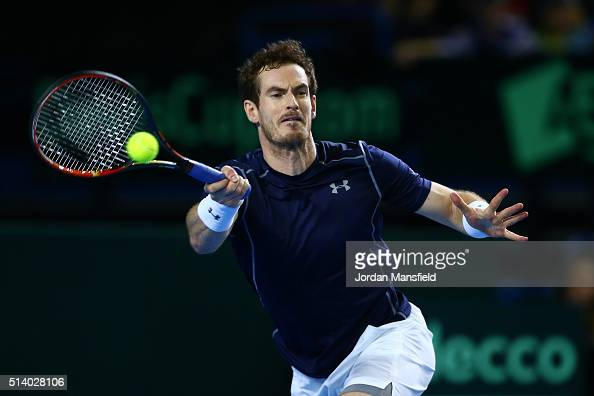 Andy Murray of Great Britain hits a forehand during the singles match against Kei Nishikori of Japan on day three of the Davis Cup World Group first...