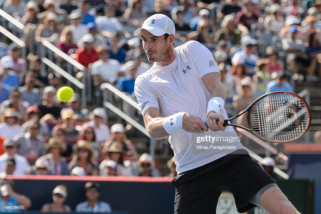 Andy Murray of Great Britain hits a return against Novak Djokovic of Serbia during day seven of the Rogers Cup at Uniprix Stadium on August 16 2015...