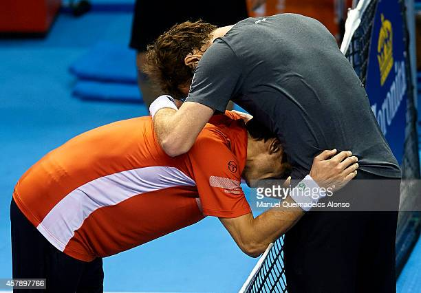 Andy Murray of Great Britain hugs after his men's singles final match against Tommy Robredo of Spain during day seven of the ATP 500 World Tour...