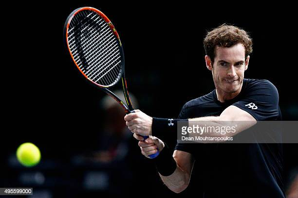 Andy Murray of Great Britain in action against Borna Coric of Croatia during Day 3 of the BNP Paribas Masters held at AccorHotels Arena on November 4...