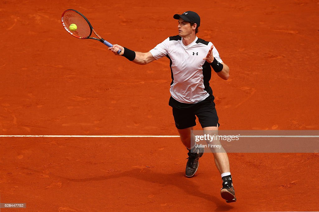 Andy Murray of Great Britain in action against Gilles Simon of France during day six of the Mutua Madrid Open tennis tournament at the Caja Magica on May 05, 2016 in Madrid, Spain.