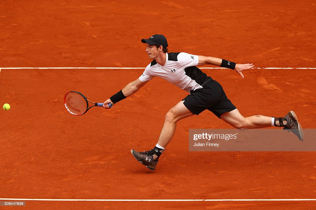 <a gi-track='captionPersonalityLinkClicked' href=/galleries/search?phrase=Andy+Murray+-+Tennis+Player&family=editorial&specificpeople=200668 ng-click='$event.stopPropagation()'>Andy Murray</a> of Great Britain in action against Gilles Simon of France during day six of the Mutua Madrid Open tennis tournament at the Caja Magica on May 05, 2016 in Madrid, Spain.