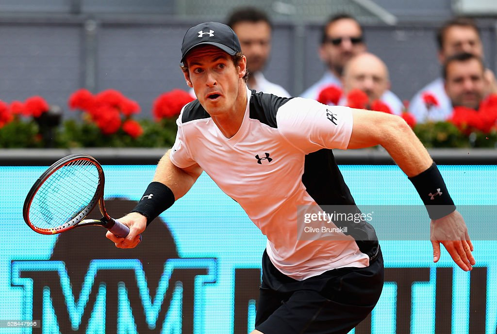 Andy Murray of Great Britain in action against Gilles Simon of France in their third round match during day six of the Mutua Madrid Open tennis tournament at the Caja Magica on May 05, 2016 in Madrid,Spain