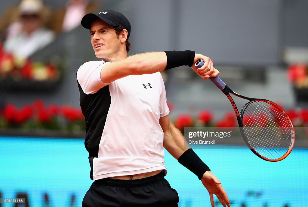 <a gi-track='captionPersonalityLinkClicked' href=/galleries/search?phrase=Andy+Murray+-+Tennis+Player&family=editorial&specificpeople=200668 ng-click='$event.stopPropagation()'>Andy Murray</a> of Great Britain in action against Gilles Simon of France in their third round match during day six of the Mutua Madrid Open tennis tournament at the Caja Magica on May 05, 2016 in Madrid,Spain