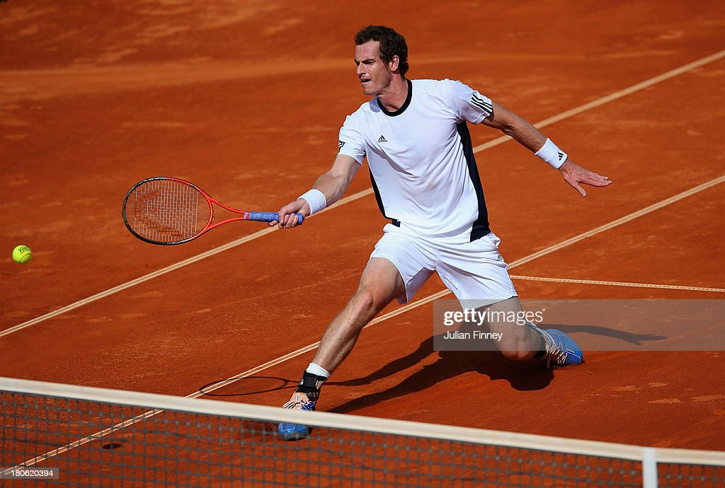 Andy Murray of Great Britain in action against Ivan Dodig of Croatia during day three of the Davis Cup World Group play-off tie between Croatia and Great Britain at Stadion Stella Maris on September 15, 2013 in Umag, Croatia.