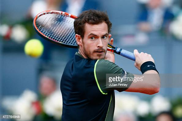 Andy Murray of Great Britain in action against Kei Nishikori of Japan in the semi final during day eight of the Mutua Madrid Open tennis tournament...