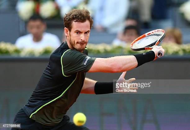 Andy Murray of Great Britain in action against Kei Nishikori of Japan in their semi final match during day eight of the Mutua Madrid Open tennis...