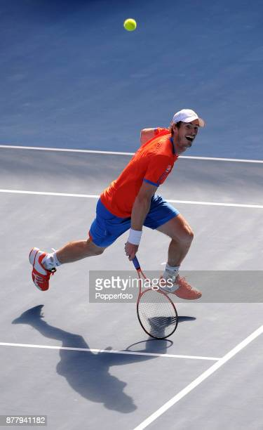 Andy Murray of Great Britain in action against Kei Nishikori of Japan during a Men's Singles quarter final on day ten of the 2012 Australian Open at...