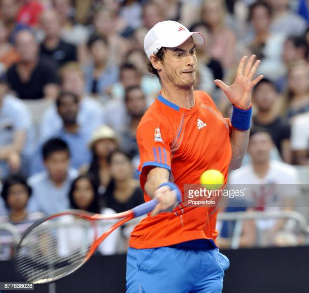 Andy Murray of Great Britain in action against Michael Llodra of France during a Men's Singles 3rd round match on day six of the 2012 Australian Open...