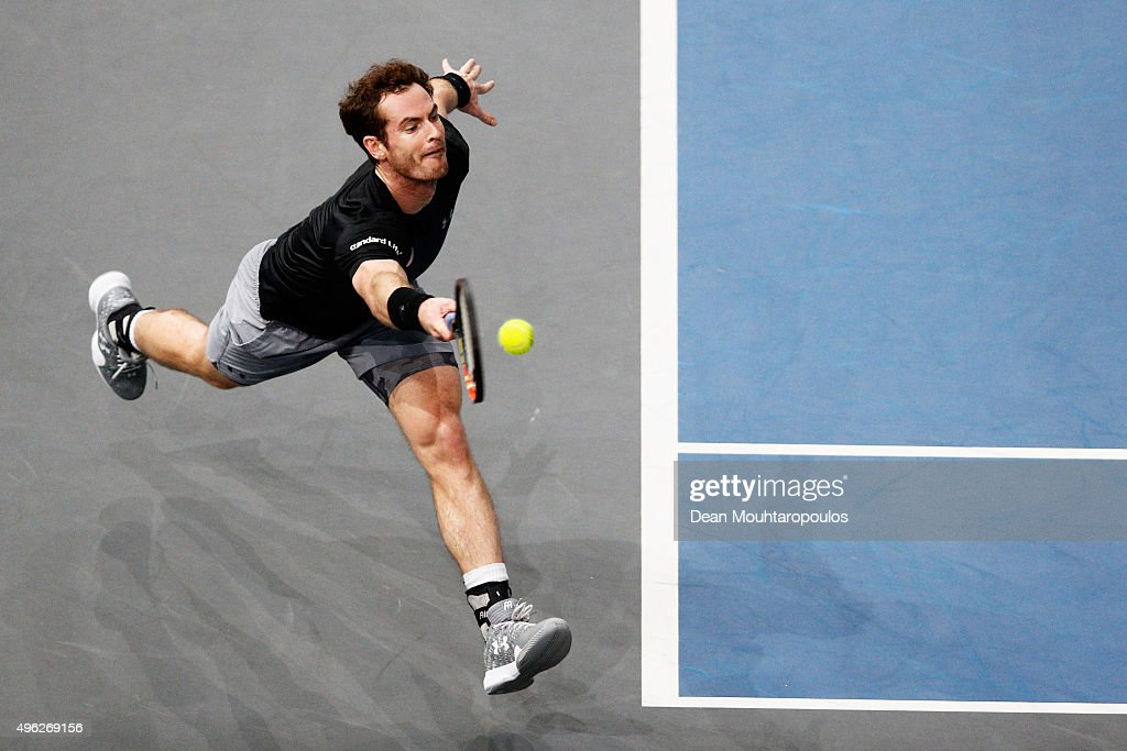 Andy Murray of Great Britain in action against Novak Djokovic of Serbia in their Mens Final match during Day 7 of the BNP Paribas Masters held at AccorHotels Arena on November 8, 2015 in Paris, France.
