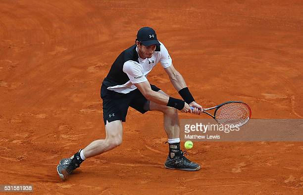 Andy Murray of Great Britain in action against Novak Djokovic of Serbia during the Mens Singles Final during day eight of The Internazionali BNL...