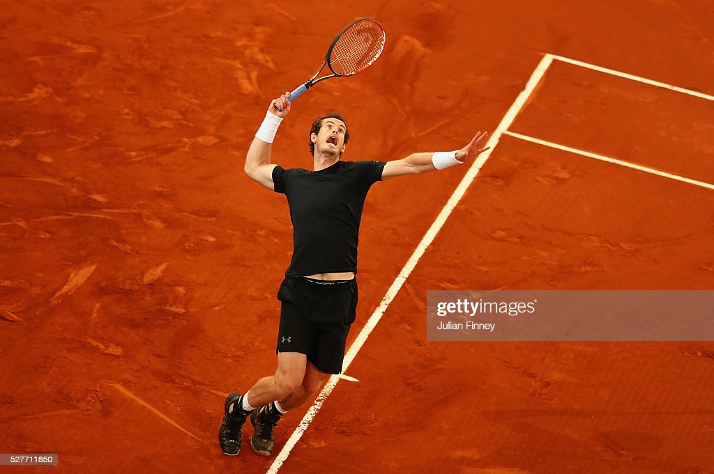 Andy Murray of Great Britain in action against Radek Stepanek of Czech Republic during day four of the Mutua Madrid Open tennis tournament at the Caja Magica on May 03, 2016 in Madrid, Spain.