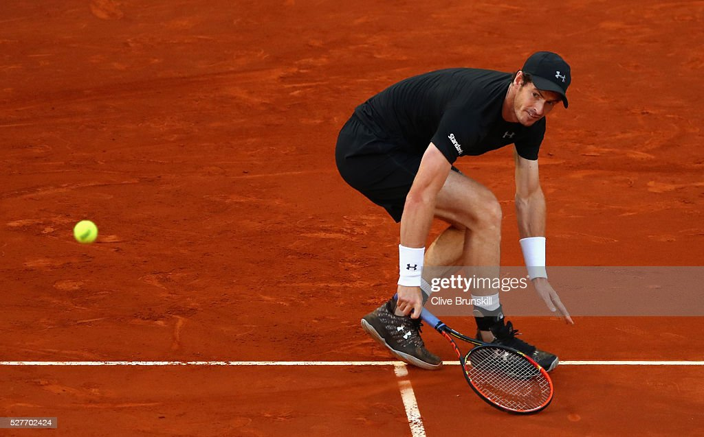 <a gi-track='captionPersonalityLinkClicked' href=/galleries/search?phrase=Andy+Murray+-+Tennis+Player&family=editorial&specificpeople=200668 ng-click='$event.stopPropagation()'>Andy Murray</a> of Great Britain in action against Radek Stepanek of the Czech Republic in their second round match during day four of the Mutua Madrid Open tennis tournament at the Caja Magica on May 03, 2016 in Madrid,Spain.