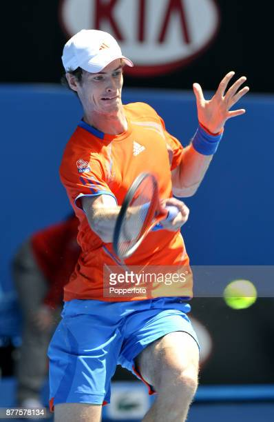 Andy Murray of Great Britain in action against Ryan Harrison of the United States during a Men's Singles 1st round match on day two of the 2012...