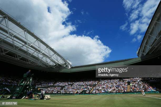 Andy Murray of Great Britain in action against Sam Querrey of United States on day nine of the 2017 Wimbledon Championships at the All England Lawn...