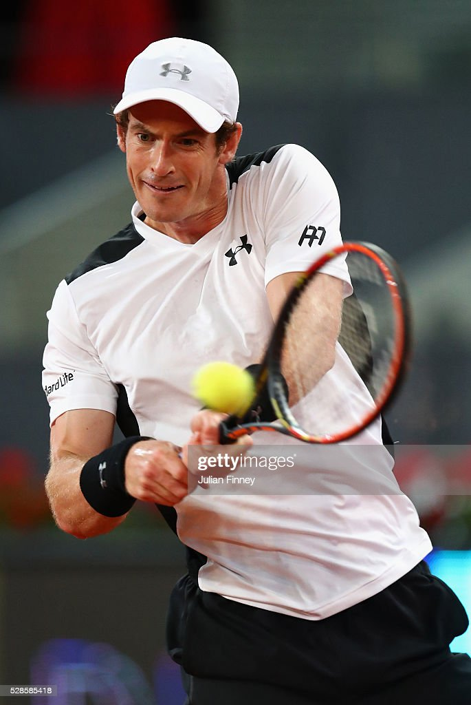 <a gi-track='captionPersonalityLinkClicked' href=/galleries/search?phrase=Andy+Murray+-+Tennis+Player&family=editorial&specificpeople=200668 ng-click='$event.stopPropagation()'>Andy Murray</a> of Great Britain in action against Tomas Berdych of Czech Republic during day seven of the Mutua Madrid Open tennis tournament at the Caja Magica on May 06, 2016 in Madrid, Spain.
